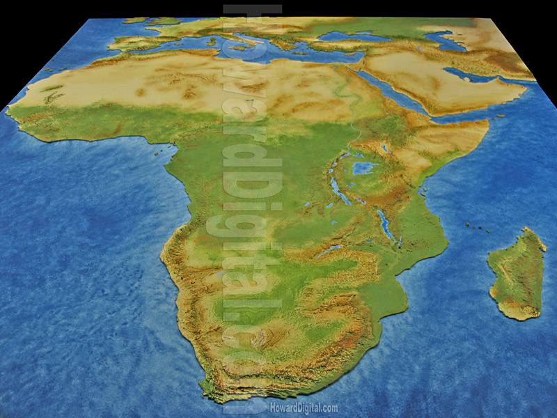 Physical Map of Africa - African Model - Africa