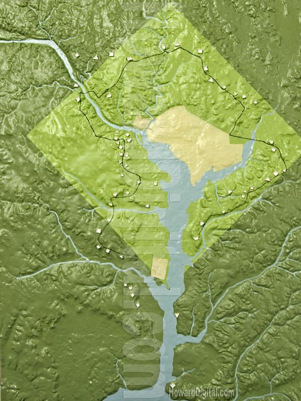 Topographic Map Washington Dc.Landform Models The Defenses Of Washington Landform Model Howard