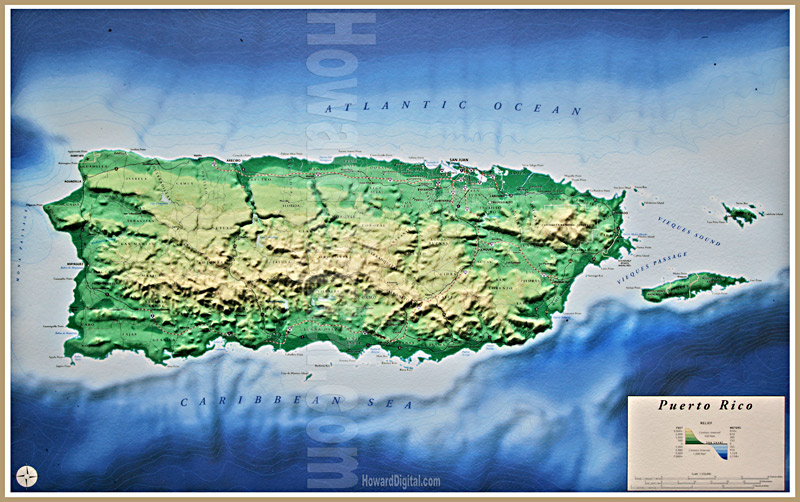 Caribbean Topographic Map.Relief Maps Puerto Rico Relief Map Howard Models