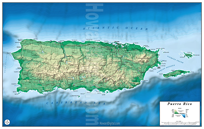 Relief Maps Puerto Rico Relief Map Howard Models