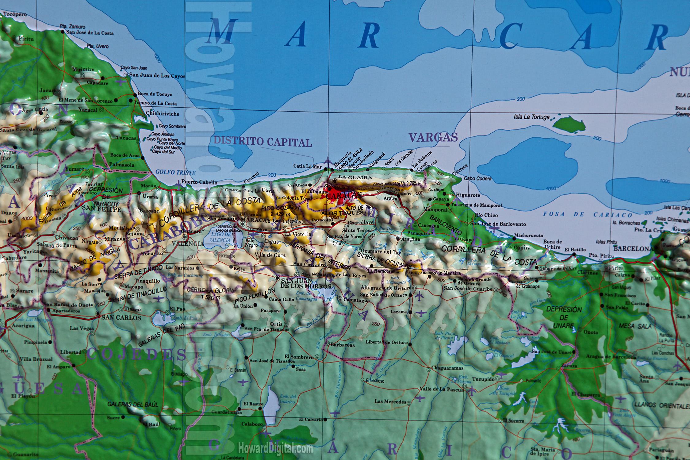 Venezuela Topographic Map.Venezuela Capital Caracas Venezuela Model Howard Models
