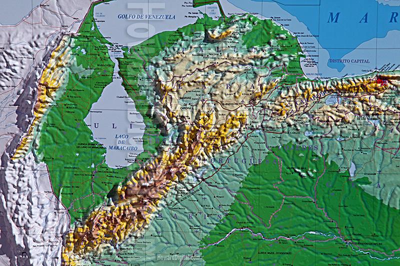 Venezuela Topographic Map.Venezuela Area Map Venezuela Model Howard Models