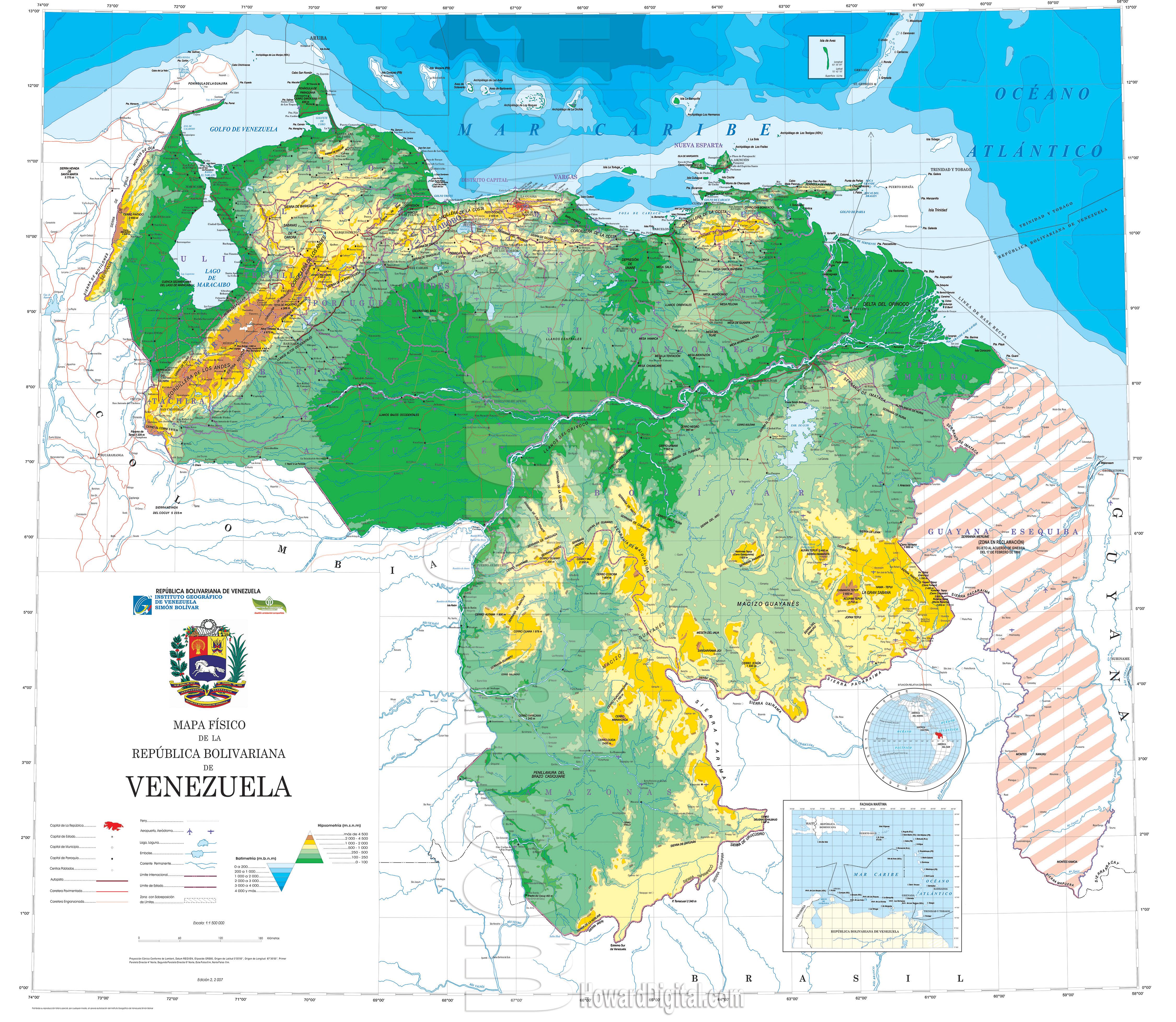 Venezuela Topographic Map.Venezuela Map Venezuela Model Howard Models