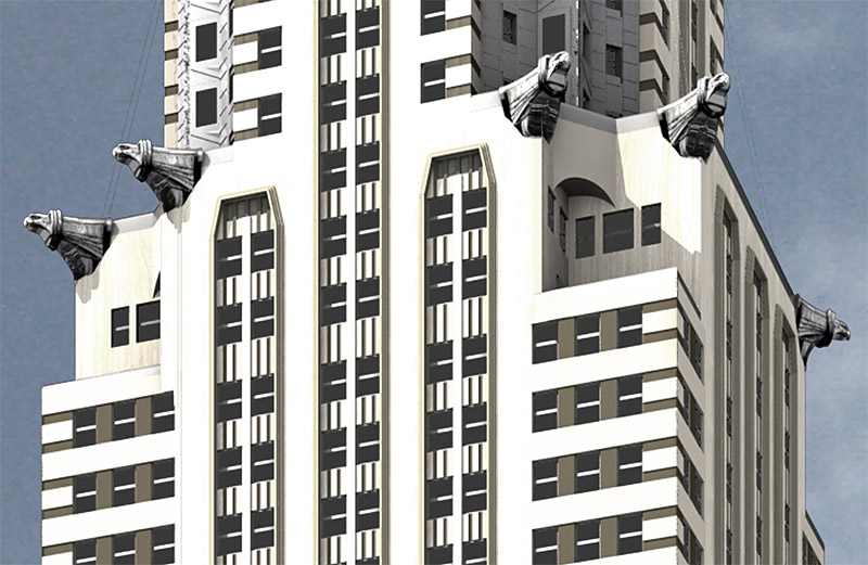 chrysler building gargoyles - rendering close-up