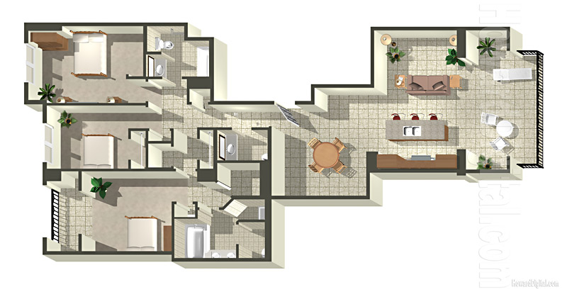 Home Rendering Beach Villas Floor Plan 1 series