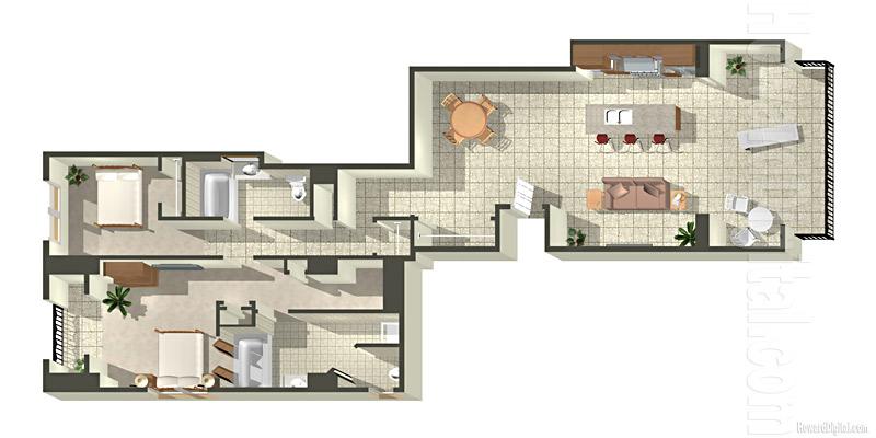 Architectural renderings floor plans beach villas at ko for Rendered floor plan