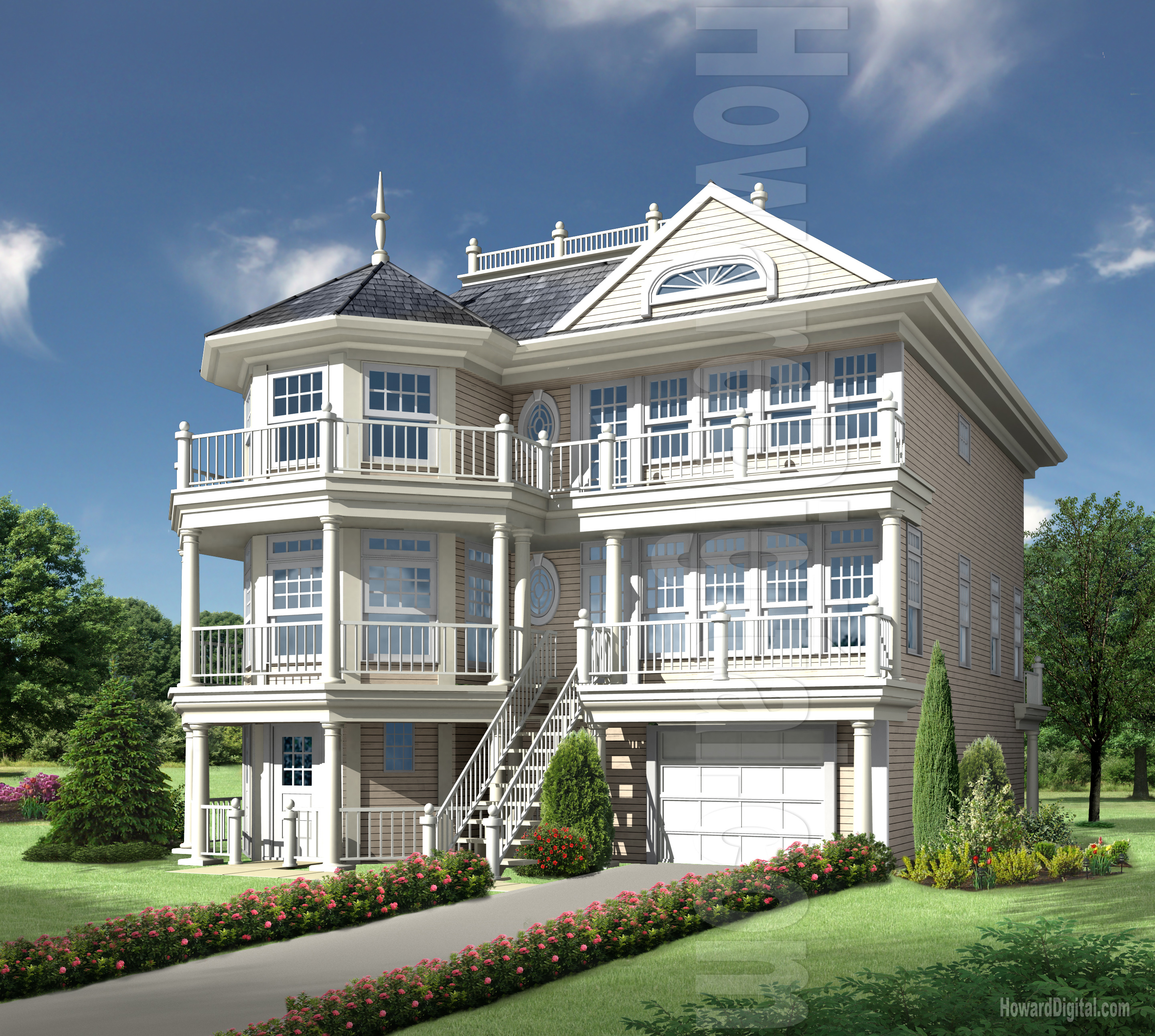 House rendering howard digital for Nice house images