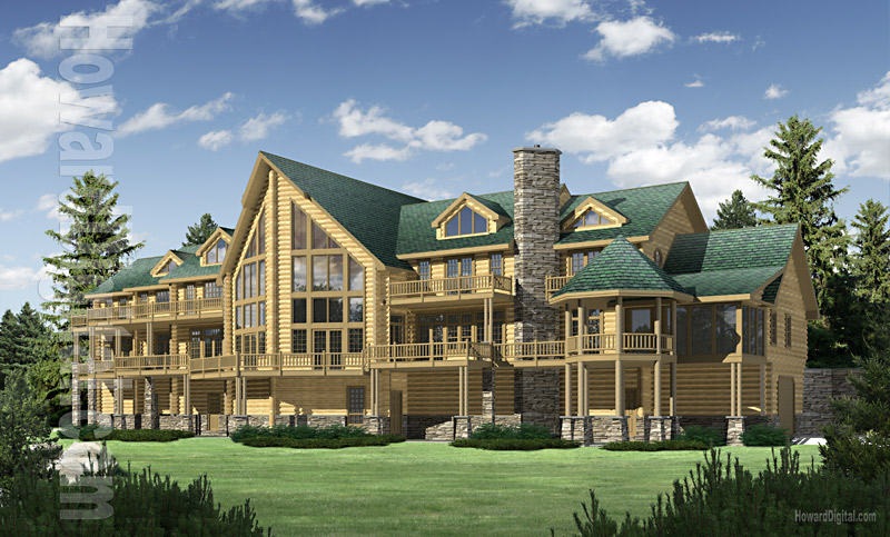 Free home plans luxury log home plans for Luxury log home floor plans