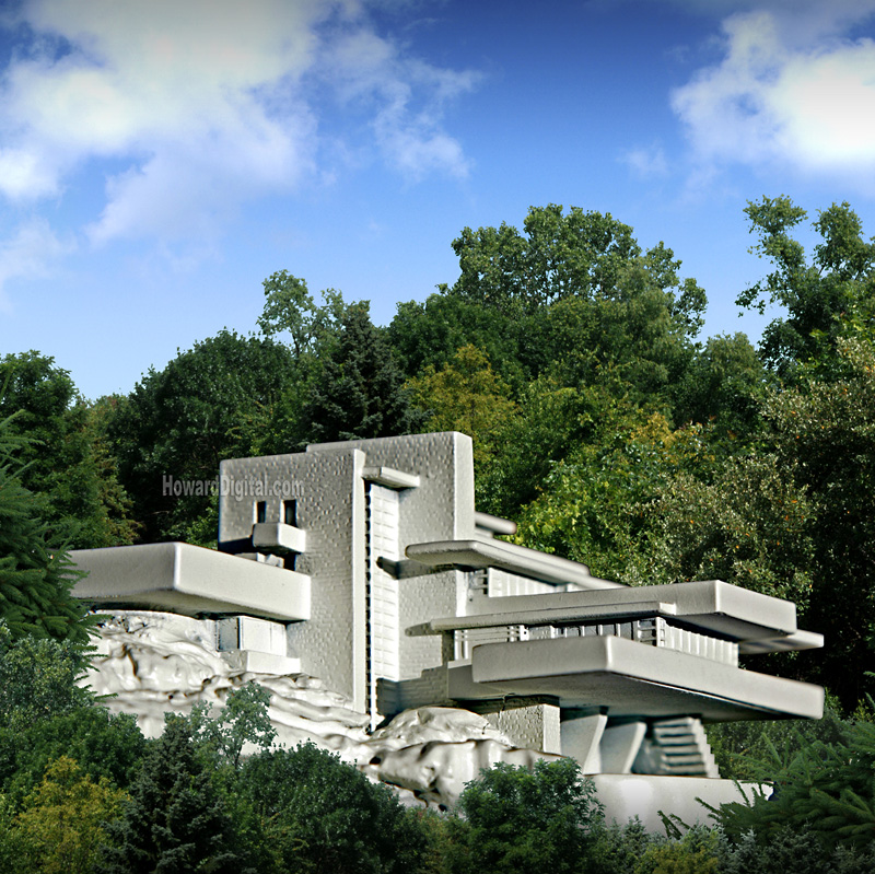 Famous architectural houses Modernist Fallingwater Howard Models Falling Water Fallingwater Guggenheim Museum The Robie House The