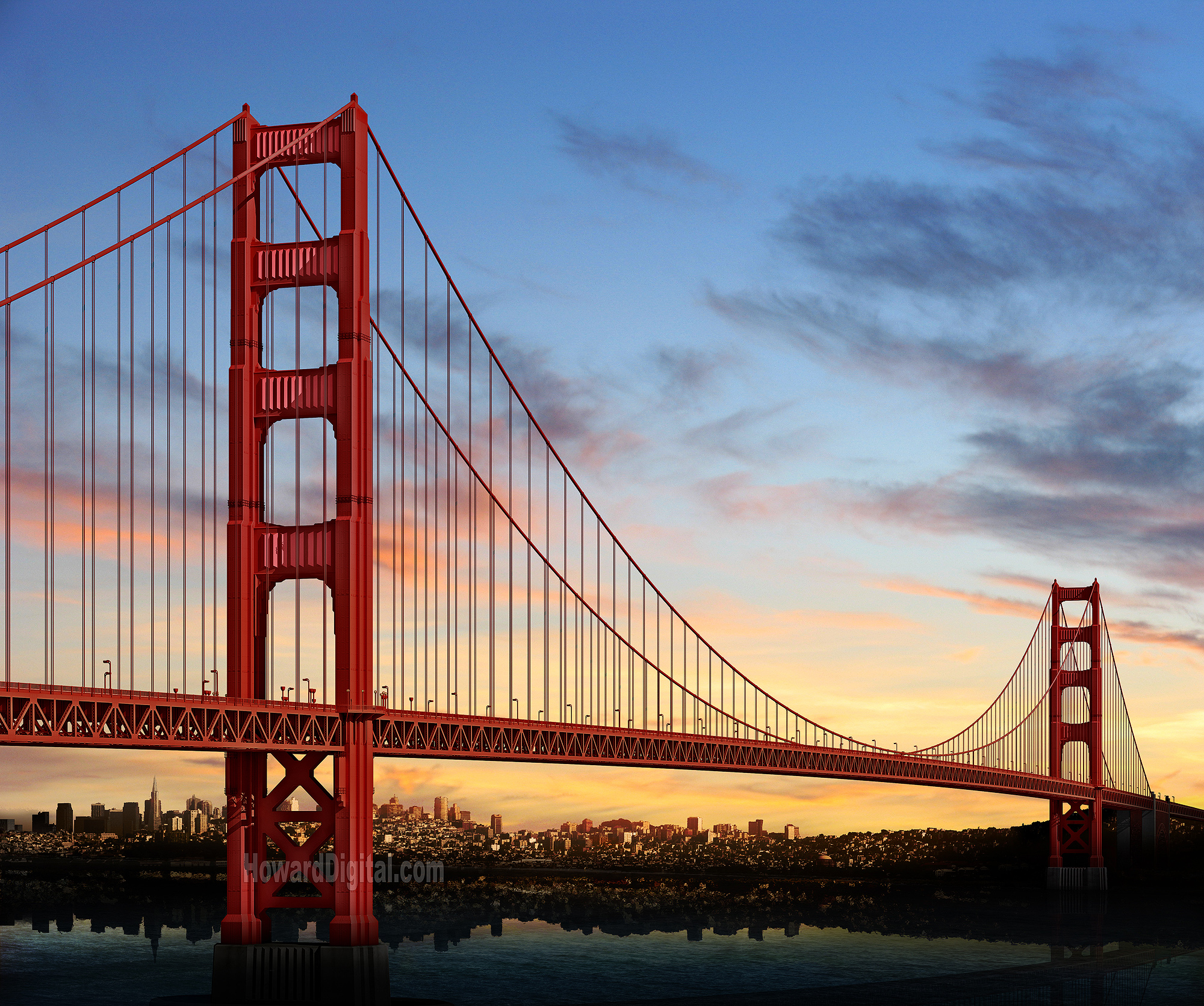 Golden Gate Bridge San Francisco California Sunset Picture: Golden Gate Silhouette Renderings