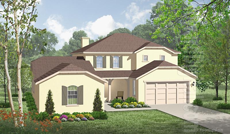 House illustration home rendering hartford for Ct home builders
