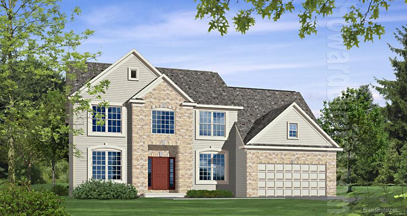 House illustration home rendering augusta georgia for Custom home builders valdosta ga