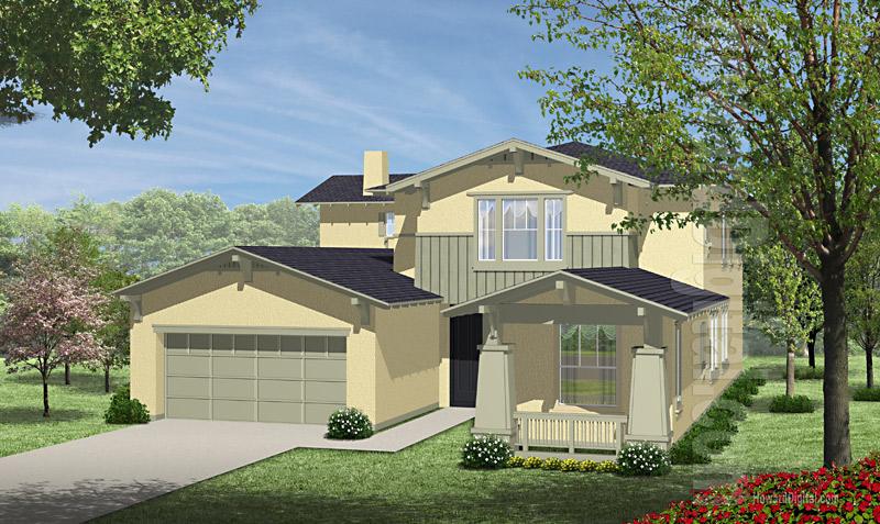 House illustration home rendering boston for Lawrence custom homes spokane