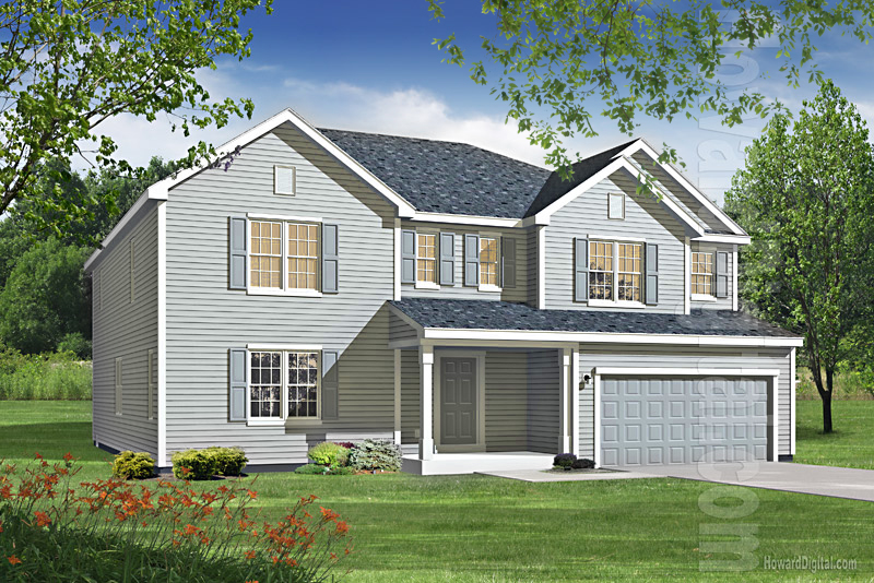 House illustration home rendering spring creek for Model houses in new york