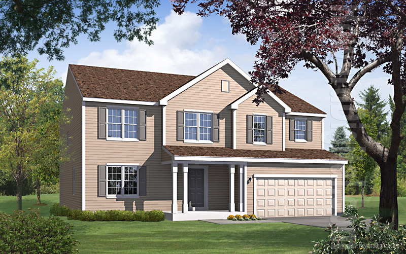 House illustration home rendering levittown new york for Model houses in new york