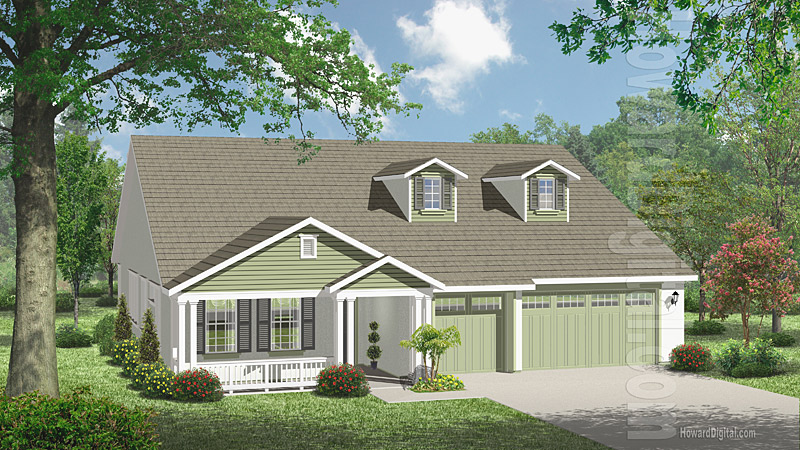 House illustration home rendering greenville north for Home builders greenville nc