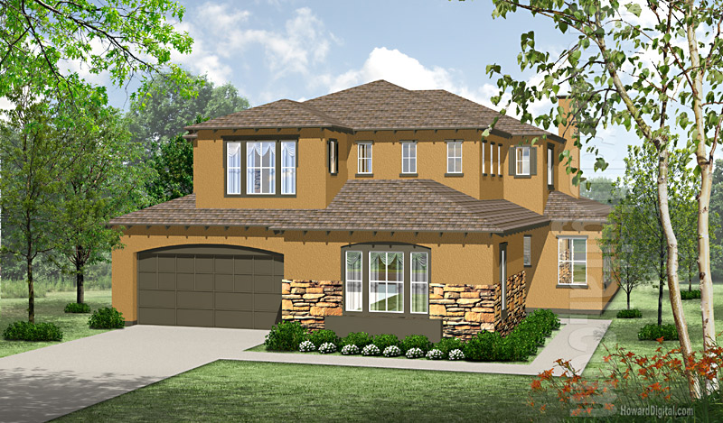 House Illustration Home Rendering Moreno Valley