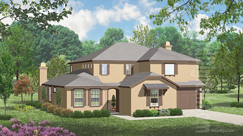 House Illustration Home Rendering Sacramento