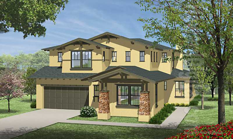 House Illustration Home Rendering Santa Rosa