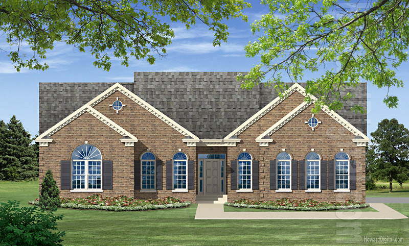 House illustration home rendering anderson south for Custom home builders anderson sc