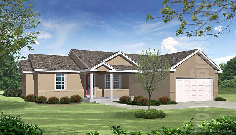 House illustration home rendering nashville davidson Nashville tn home builders