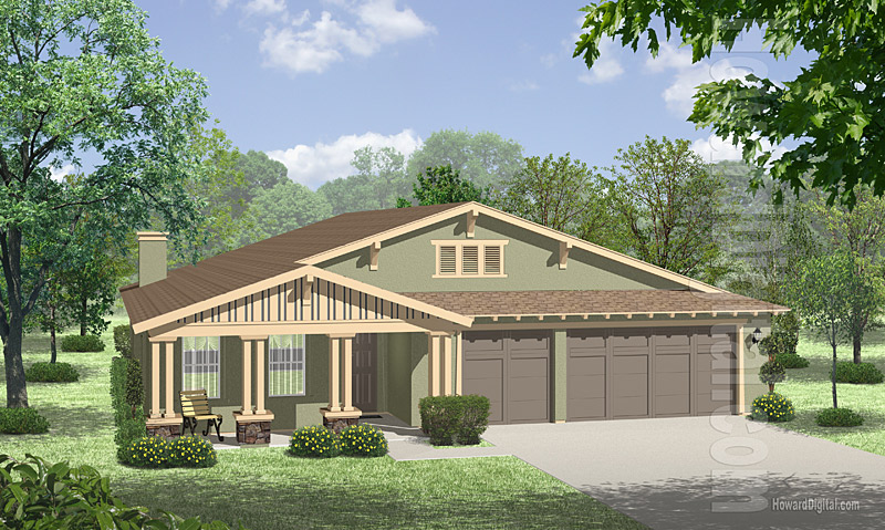 House Illustration Home Rendering Abilene Texas
