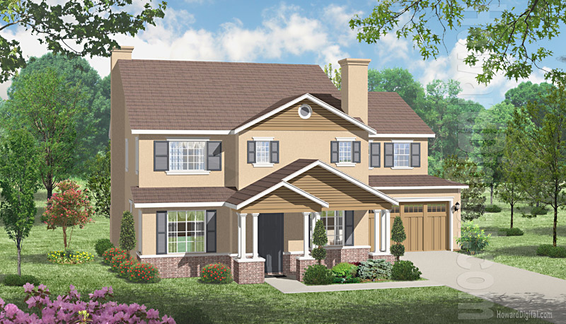 House illustration home rendering tyler texas for Tyler tx home builders