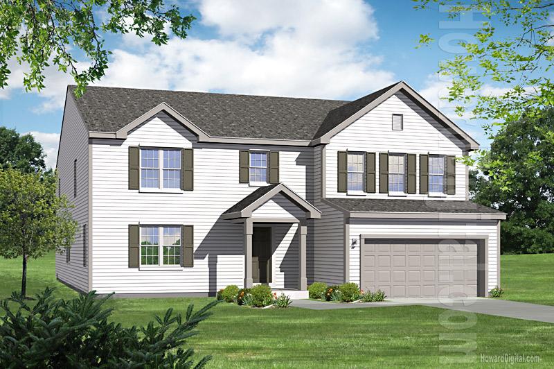 House illustration home rendering charlottesville for Custom home builders charlottesville va