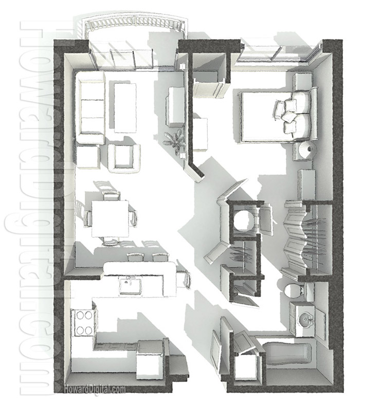 Architectural 3d Floor Plan Rendering: PCI-Dorm Floor Plans